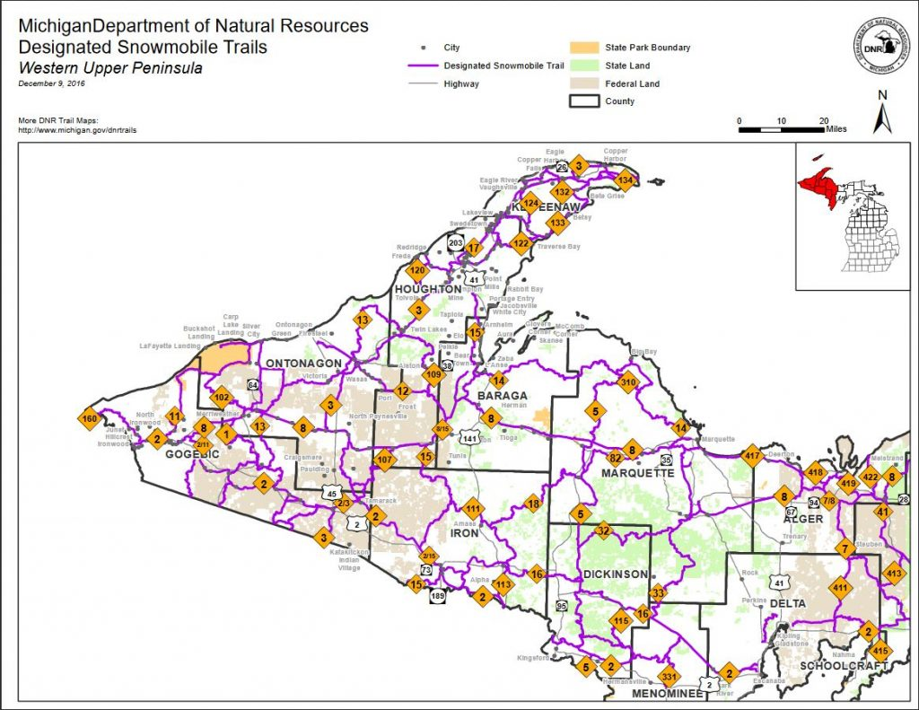 Map of snowmobile trails in the western Upper Peninsula (courtesy of MI DNR)